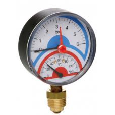 Термоманометр Icma 1/2 (10 bar) №258 с запорным клапаном Б